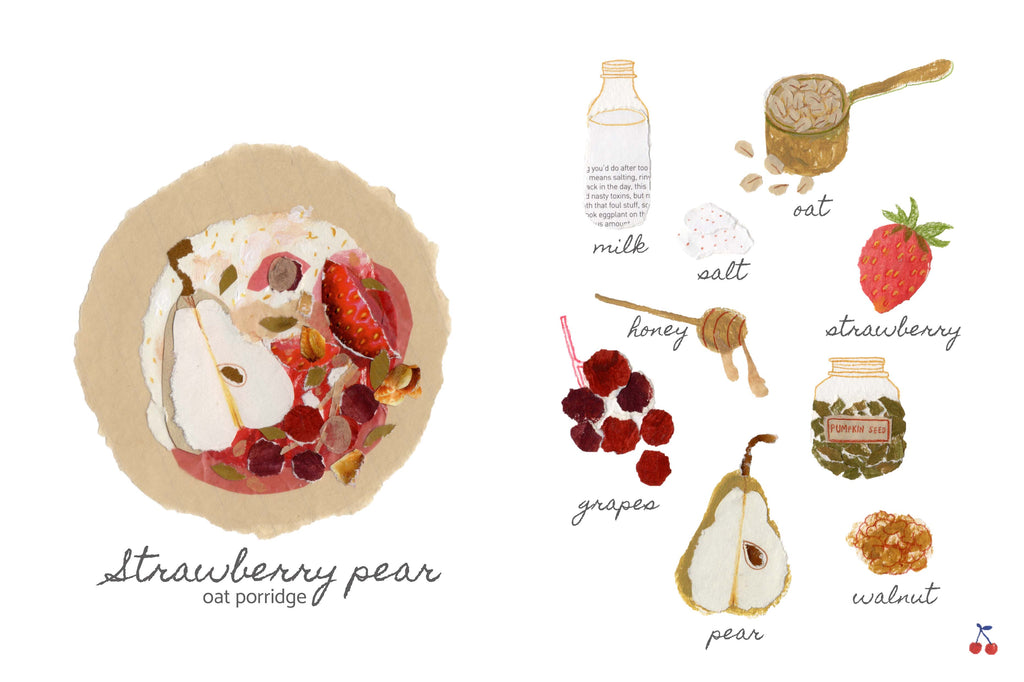 An illustration of a strawberry pear oat porridge, including the seperate ingredients, by mixed media artist Auracherrybag