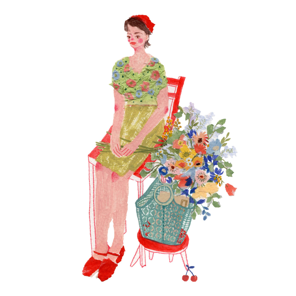 An illustration of a young woman sitting on a red chair next to some flowers by the mixed media artist Auracherrybag