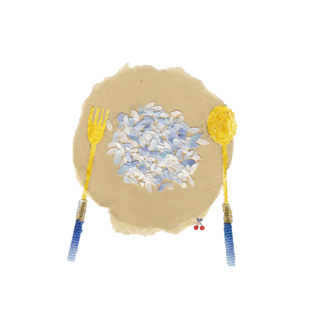 An illustration of a plate of food and a fork and spoon by mixed media artist Auracherrybag