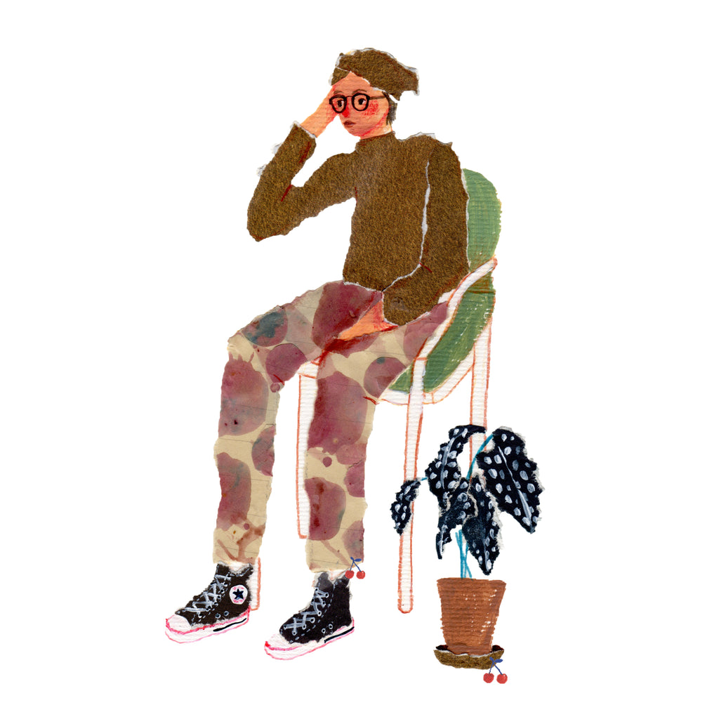 An illustration of a woman wearing patterned pants whom is sitting in a chair next to a plant by the mixed media artist Auracherrybag