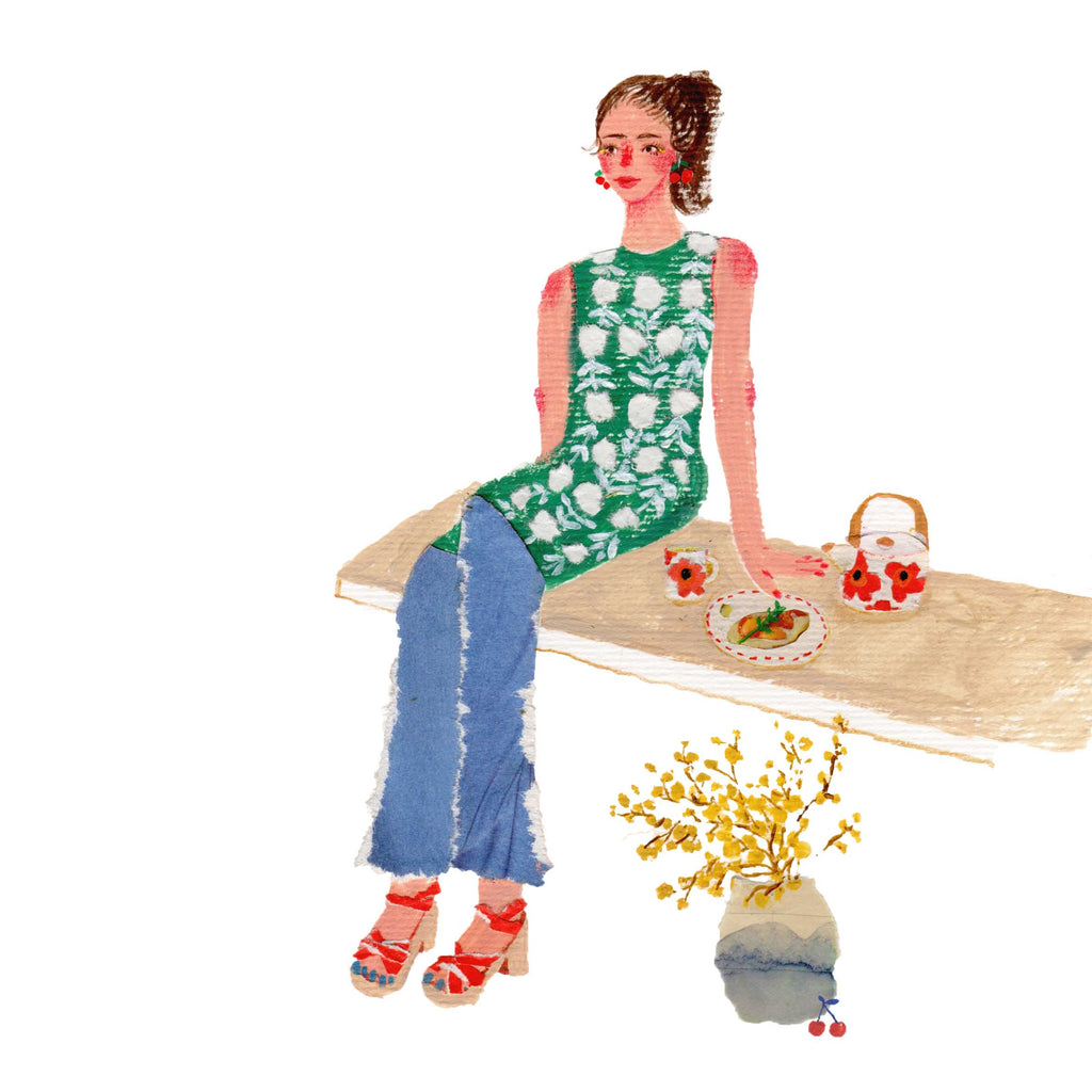 An illustration of a women in jeans sitting on a bench next to some food and tea by the mixed media artist Auracherrybag