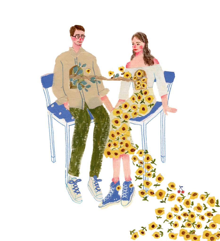 An illustration of a couple, sitting in chairs, whom are joined together by sunflowersby the mixed media artist Auracherrybag
