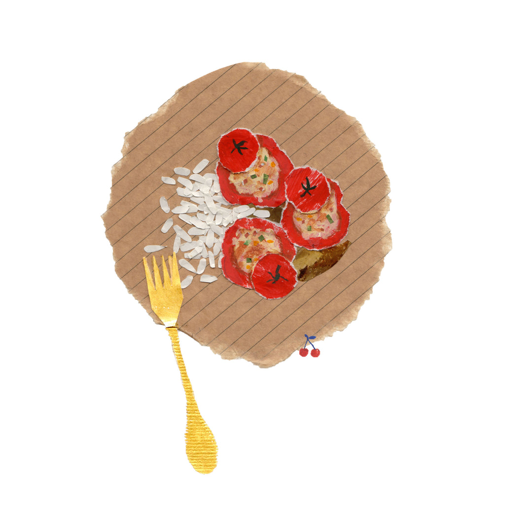 An illustration of a plate of food containing tomatoes by mixed media artist Auracherrybag