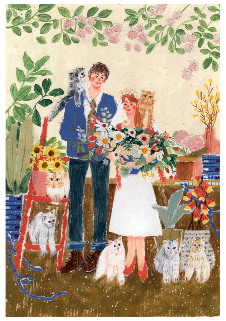 Wedding card created by mixed media artist Auracherrybag featuring two people standing next to each other with flowers and cats