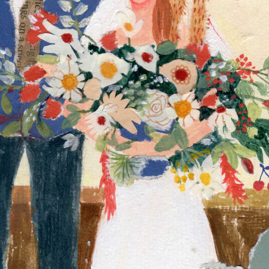 Close up of a wedding card designed by mixed media artist Auracherrybag showing the bride with a boquet