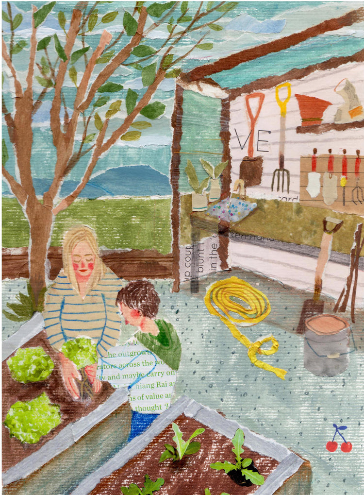 An illustration of a boy helping his mother in the garden by the mixed media artist Auracherrybag