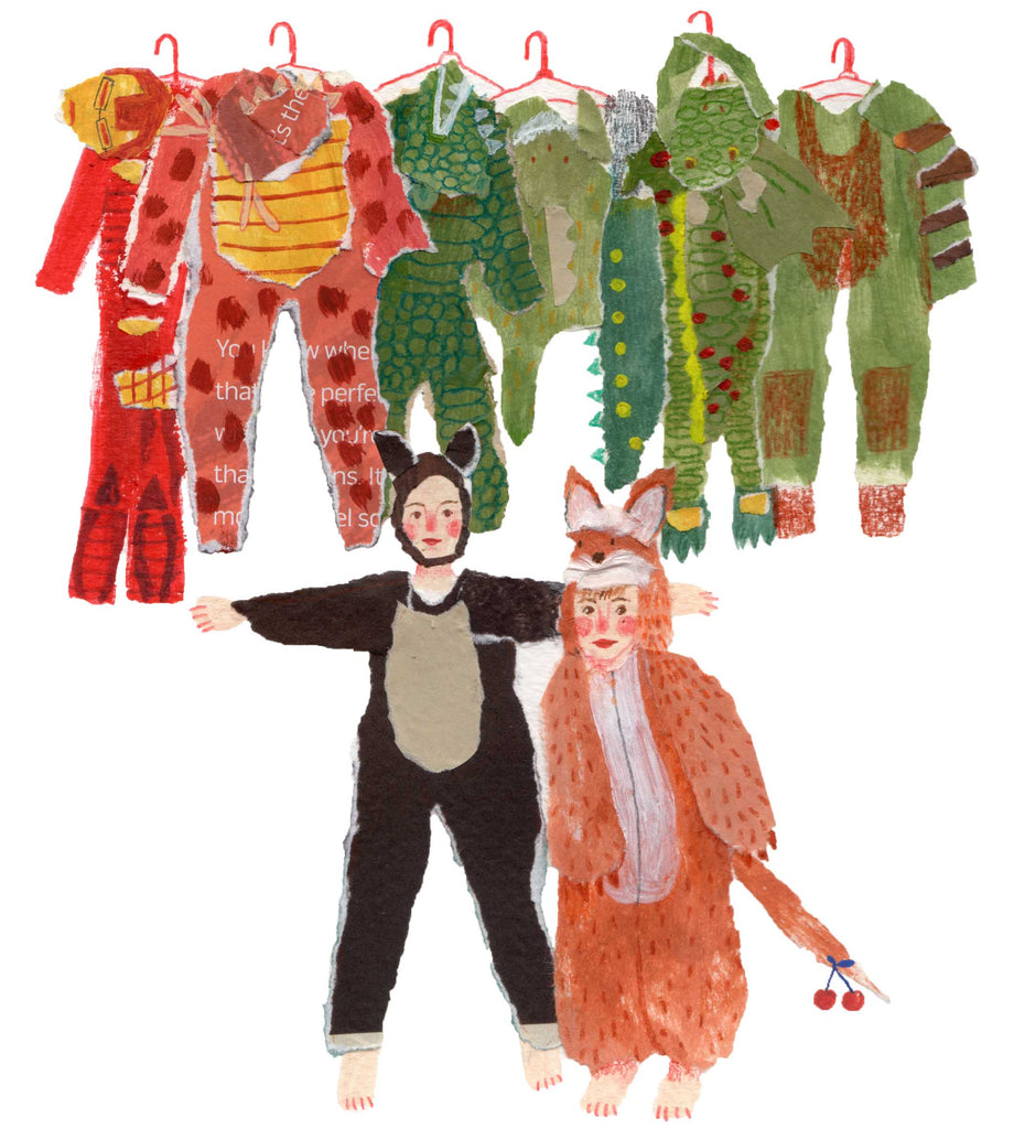 An illustration of two children in costumes, surrounded by even more costumes by the mixed media artist Auracherrybag
