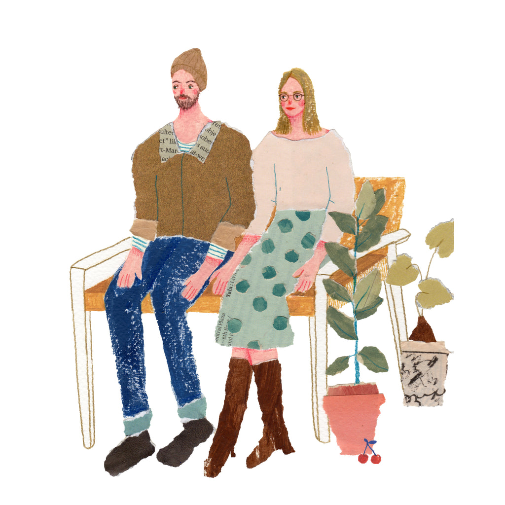 An illustration of a young couple sitting on a bench next to two plants by the mixed media artist Auracherrybag