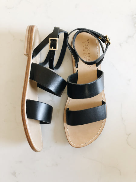 Classic Sandal in Black Full grain Leather