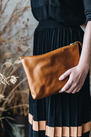 The Classic Clutch in Tan
