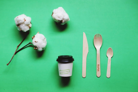 eco-friendly compostable wooden cutlery for food, sustainable living