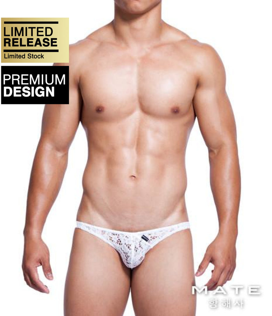 MATEGEAR - Sexy Men's Swimwear, Underwear, Sportswear and Loungewear - Mini Bikini - Min Kyu (White Lace)