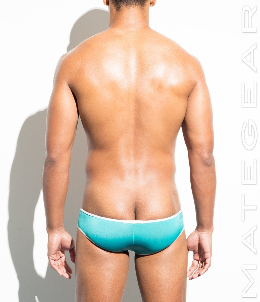 MATEGEAR - Sexy Men's Swimwear, Underwear, Sportswear and Loungewear - Extremely Sexy Mini Squarecuts - Ye Eun (Turquoise Air Nylon)