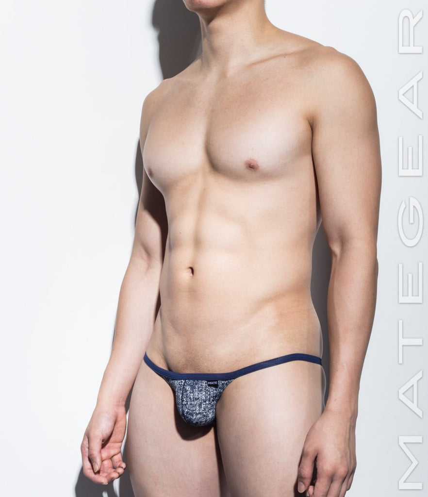 MATEGEAR - Sexy Men's Swimwear, Underwear, Sportswear and Loungewear - Sexy Men's Underwear Mini Bikini Briefs - Nam Woo (Thin Nylon Denim Print Signature Series)