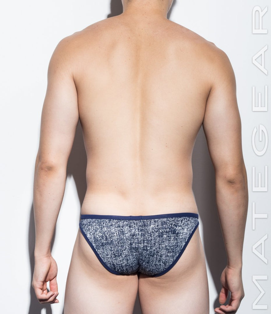 MATEGEAR - Sexy Men's Swimwear, Underwear, Sportswear and Loungewear - Sexy Men's Underwear Ultra Bikini Briefs - Nan Song (V-Front / Tapered Sides) (Thin Nylon Denim Print Signature Series)