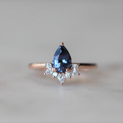 LILAC SPINEL HALF HALO RING