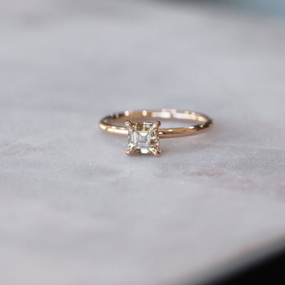 ASSCHER / ARGYLE CHAMPAGNE DIAMOND RING