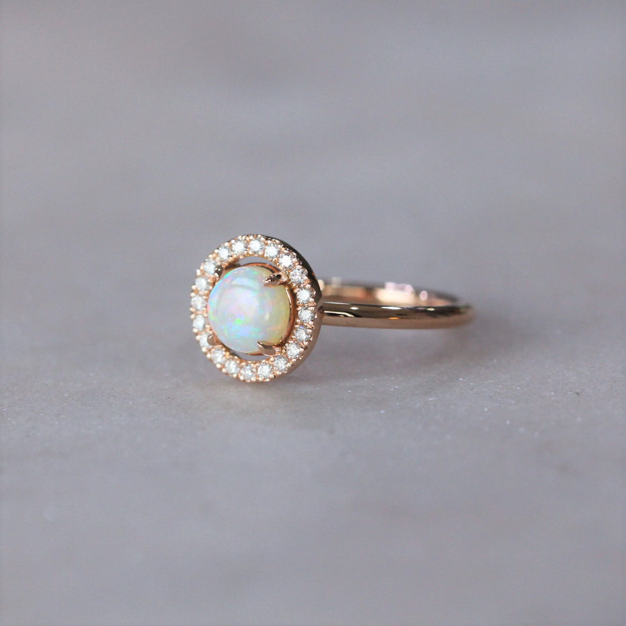OPAL / DIAMOND HALO RING