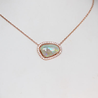 FREEFORM OPAL / DIAMOND HALO NECKLACE