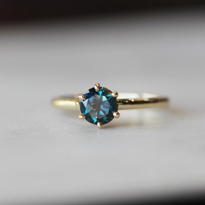 SIX CLAW ROUND SAPPHIRE RING