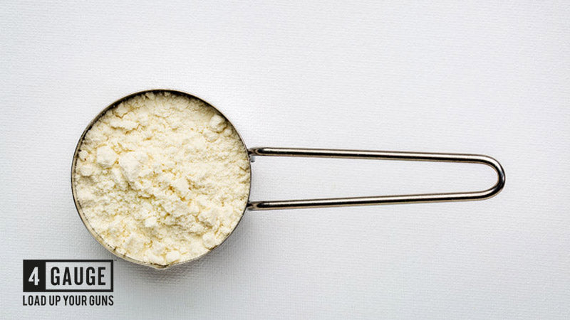 Agmatine sulphate powder on white background