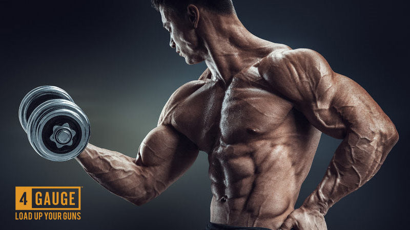 A muscular man pumping his muscles with iron weights, looking very vascular and ripped.