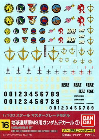 1/100 Gundam Decal Set #16 For MS EFSF Earth Federation Space Force