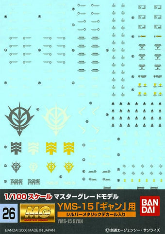 1/100 MG Gundam Decal Set #26 YMS-15 Gyan