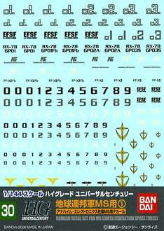 1/144 Gundam Decal Set #30 For MS EFSF Earth Federation Space Force