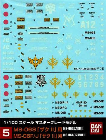 1/100 Gundam Decal Set #5 MS-06S Zaku II & MS-06F/J Zaku II