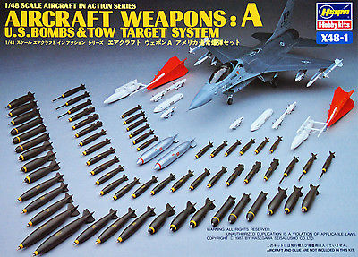 X1211 1/48 Aircraft Weapon Set A US Bombs & Tow Target System