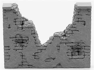 1/32 Diorama Resin Brick & Stucco Wall Ruin MSM 52J