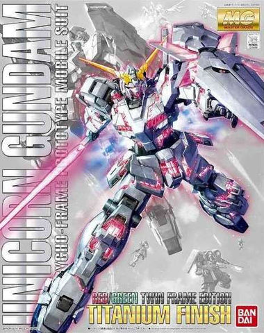 1/100 MG Unicorn Gundam Red/Green Twin Frame Version Titanium Finish