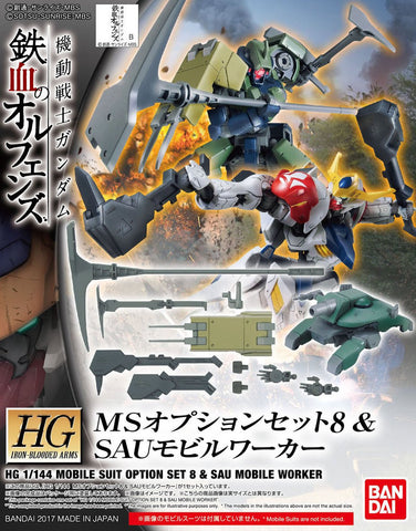 X0580 1/144 HG IBO Mobile Suit Option Set 008 & Sau Mobile Worker