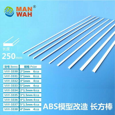 X4327 Styrene Rod Rectangle Solid 2mm x 1mm x 250mm 6pc Pack