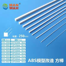 X4324 Styrene Rod Square Solid 2mm x 2mm x 250mm 6pc Pack