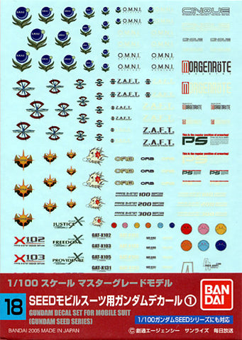 1/100 Gundam Decal Set #18 For Gundam Seed Series