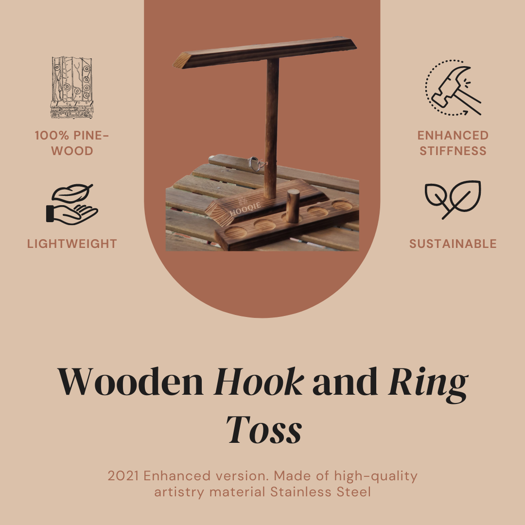 HOOQIE™ Handmade Wooden Ring Toss with Shot Ladder - Party Bar Game