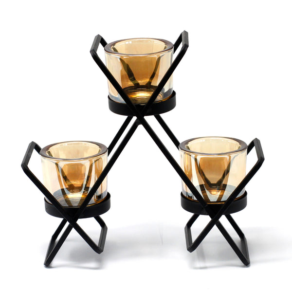 Centrepiece Iron Votive Candle Holder - 3 Cup Triangle - Javagifts