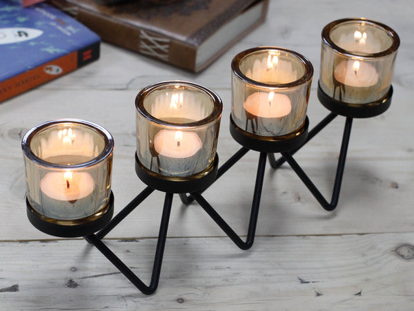 Centrepiece Iron Votive Candle Holder - 4 Cup Zig Zag - Javagifts