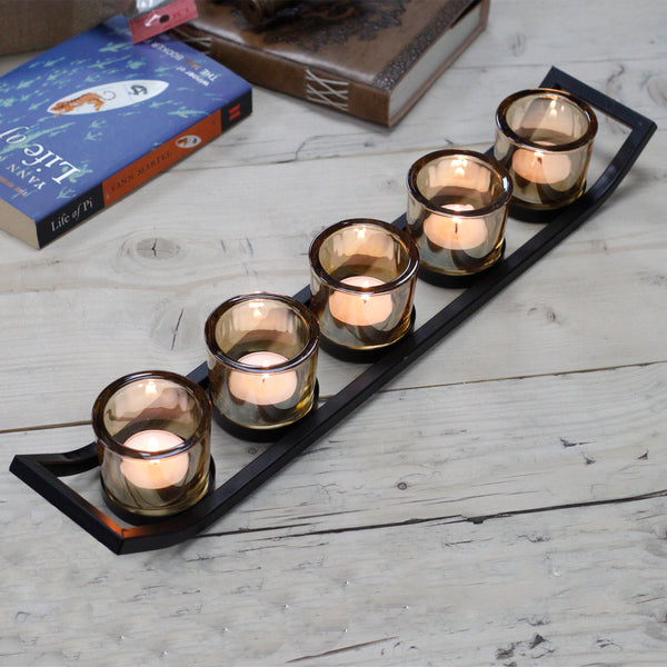 Centrepiece Iron Votive Candle Holder - 5 Cup Ledge - Javagifts