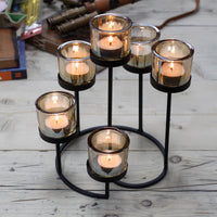Centrepiece Iron Votive Candle Holder - 6 Cup Circular Tree - Javagifts