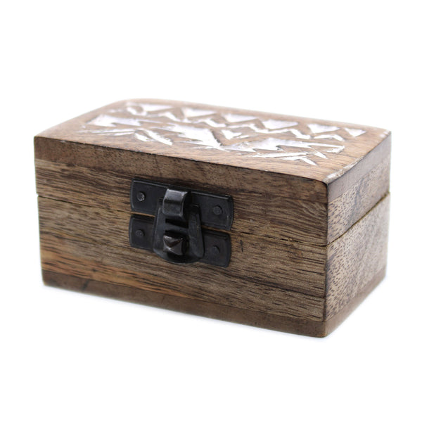White Washed Wooden Box - Pill Box Slavic Design - Javagifts