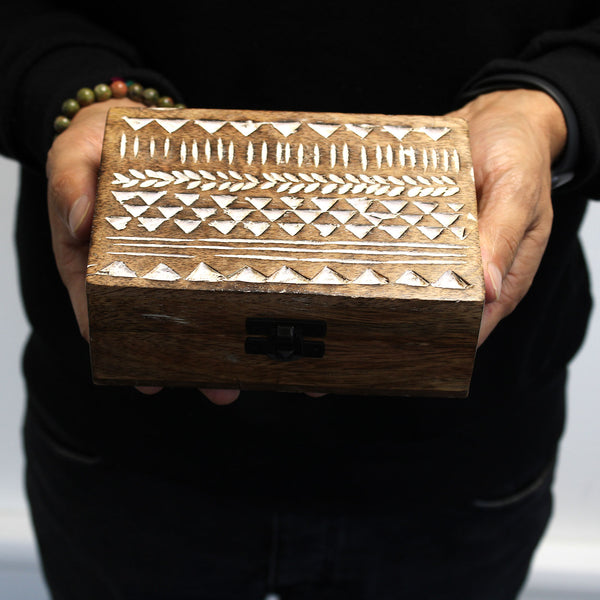 White Washed Wooden Box - Pill Box Aztec Design - Javagifts