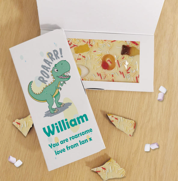 Dinosaur White Chocolate Card - Javagifts