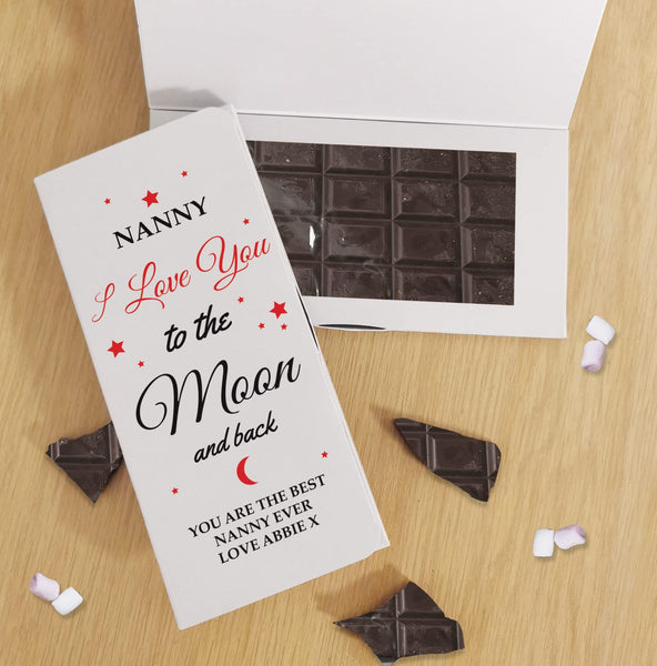 To The Moon & Back Dark Chocolate Card - Javagifts