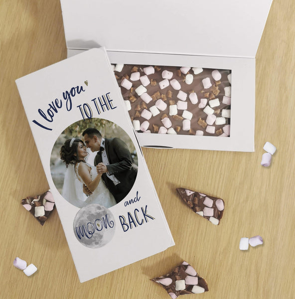 Moon & Back Photo Upload Milk Chocolate Card - Javagifts