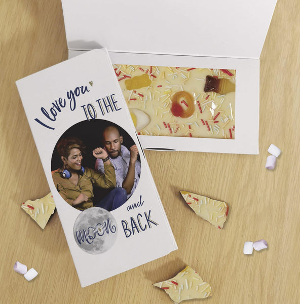 Moon & Back Photo Upload White Chocolate Card - Javagifts