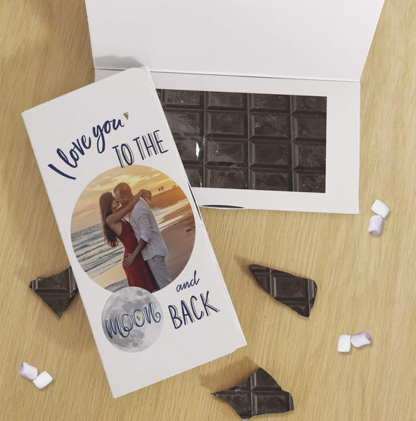 Moon & Back Photo Upload Dark Chocolate Card - Javagifts