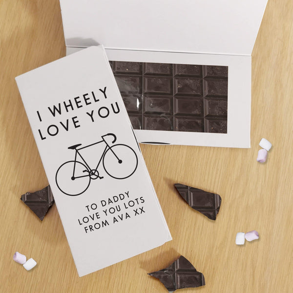 I Wheely Love You Dark Chocolate Card - Javagifts